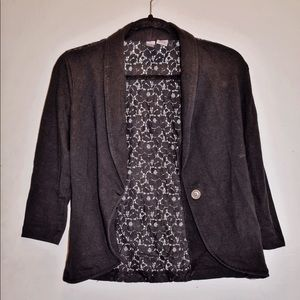 Black Blazer with Floral See Through Back